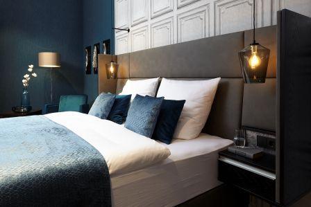 Hotelzimmer-Einrichtung-Bett