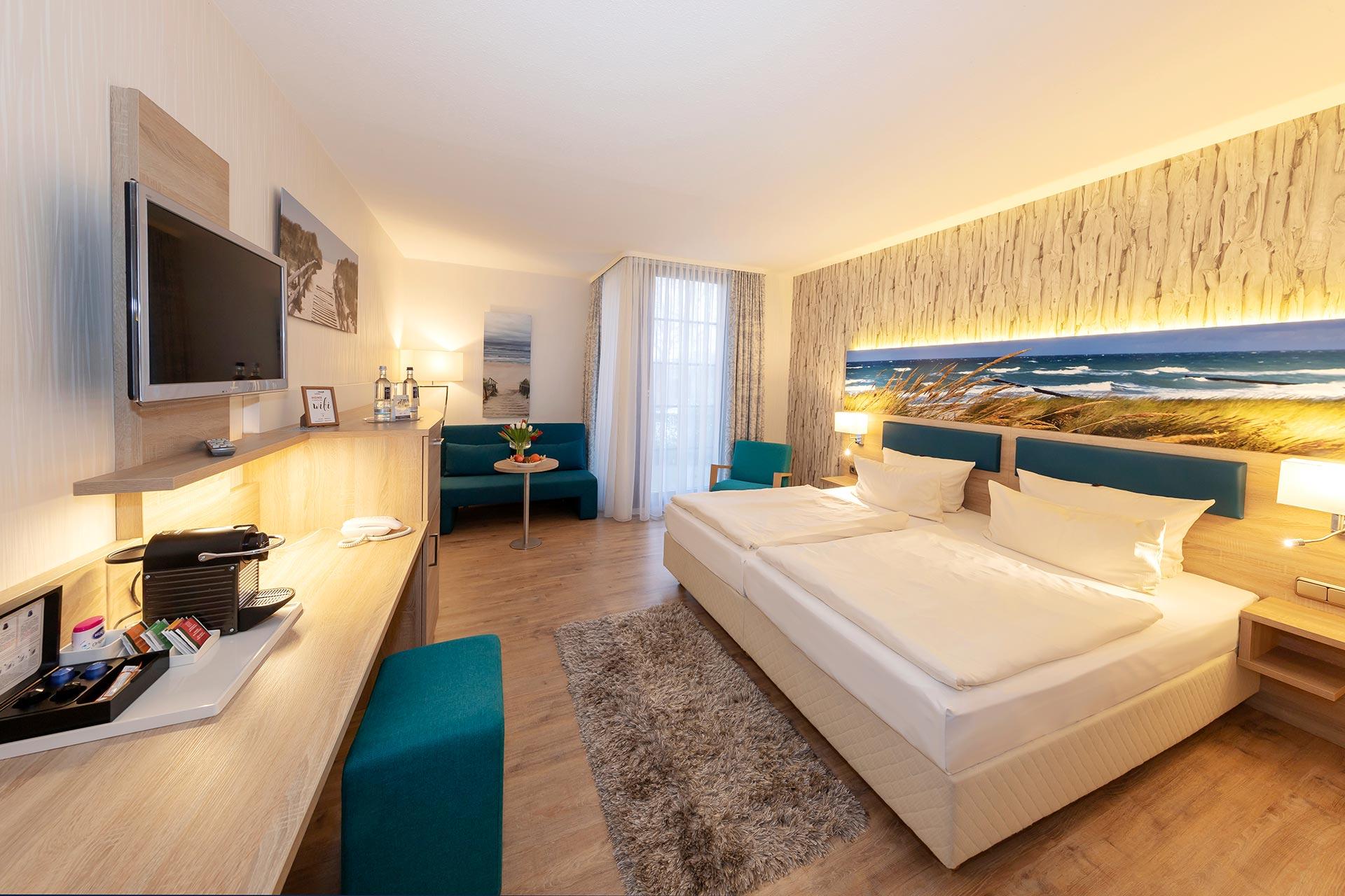 Hotelzimmer-Einrichtung-Dopelbett